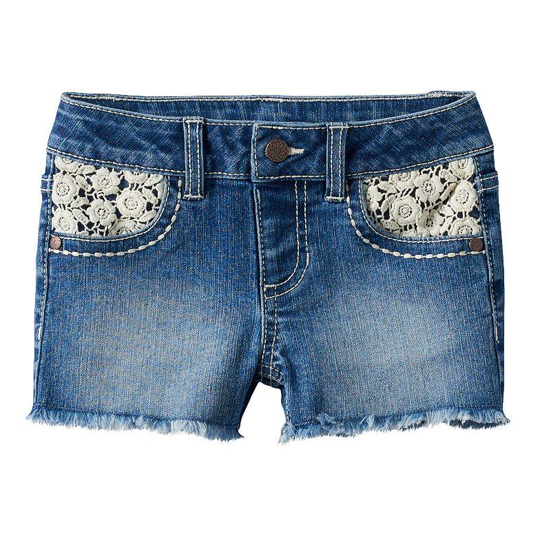 Girls 4-7 SONOMA Goods for Life™ Floral Crochet Lace Denim Shorts