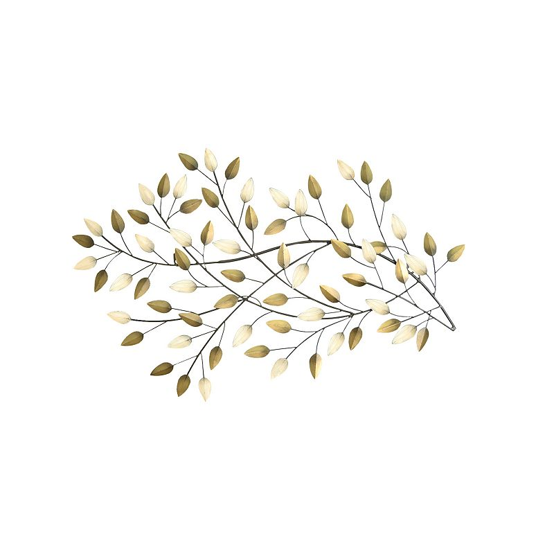 Stratton home decor blowing leaves metal wall art gold for Decoration murale wall art