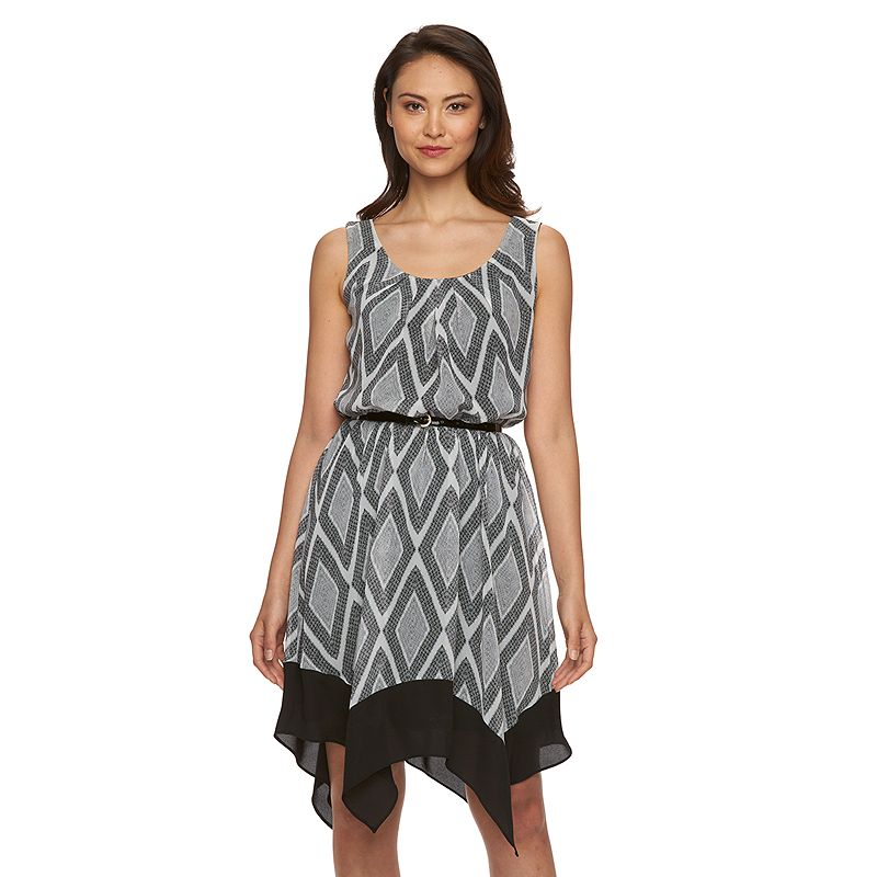Women's AB Studio Geometric Handkerchief-Hem Dress