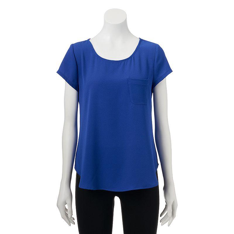 Juniors' Trixxi Button-Back Woven T-Shirt