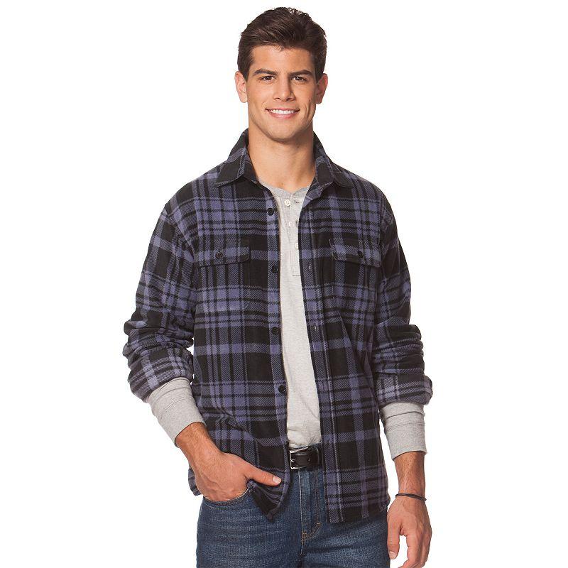 Big & Tall Chaps Classic-Fit Printed Microfleece Shirt Jacket
