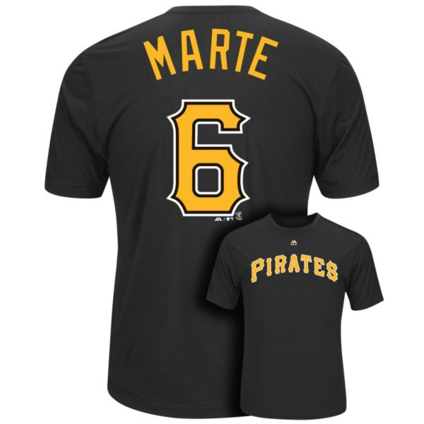 Men's Majestic Pittsburgh Pirates Starling Marte Player Name and Number Synthetic Tee