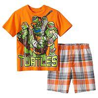 Boys 4-7 Teenage Mutant Ninja Turtles Tee & Plaid Shorts Set