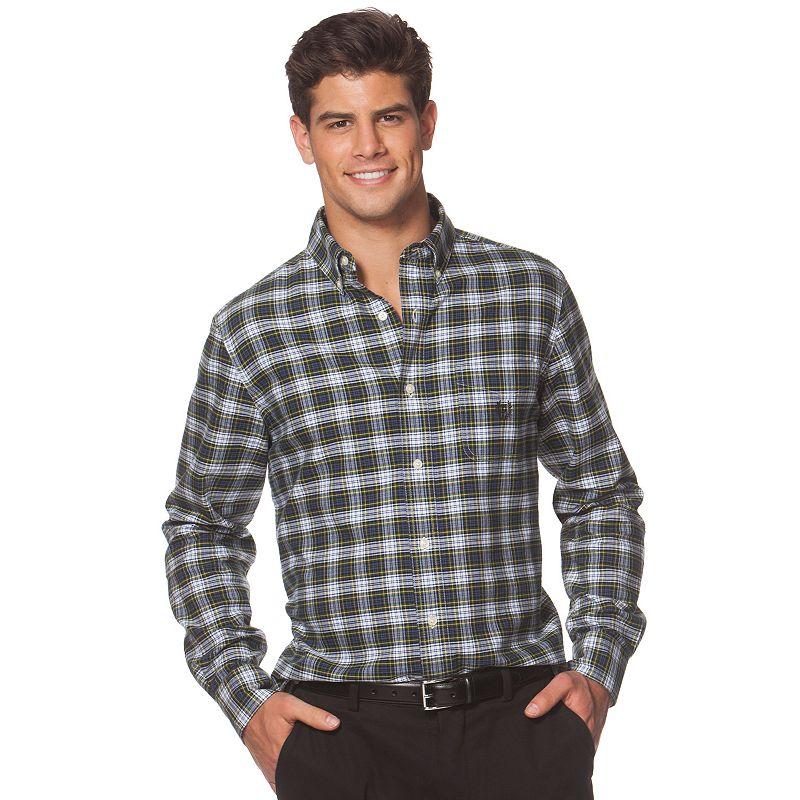 Big & Tall Chaps Classic-Fit Oxford Tartan Plaid Button-Down Shirt
