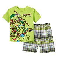 Boys 4-7 Teenage Mutant Ninja Turtles Squad Tee & Plaid Shorts Set