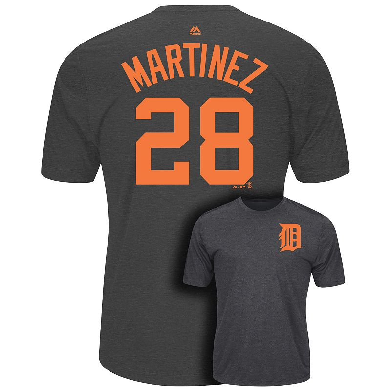 Men's Majestic Detroit Tigers J.D. Martinez Player Name and Number Synthetic Tee