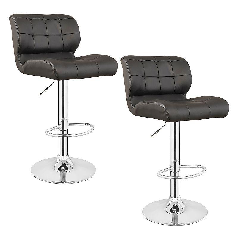 Leick Furniture Faux Leather Swivel Stool 2-piece Set