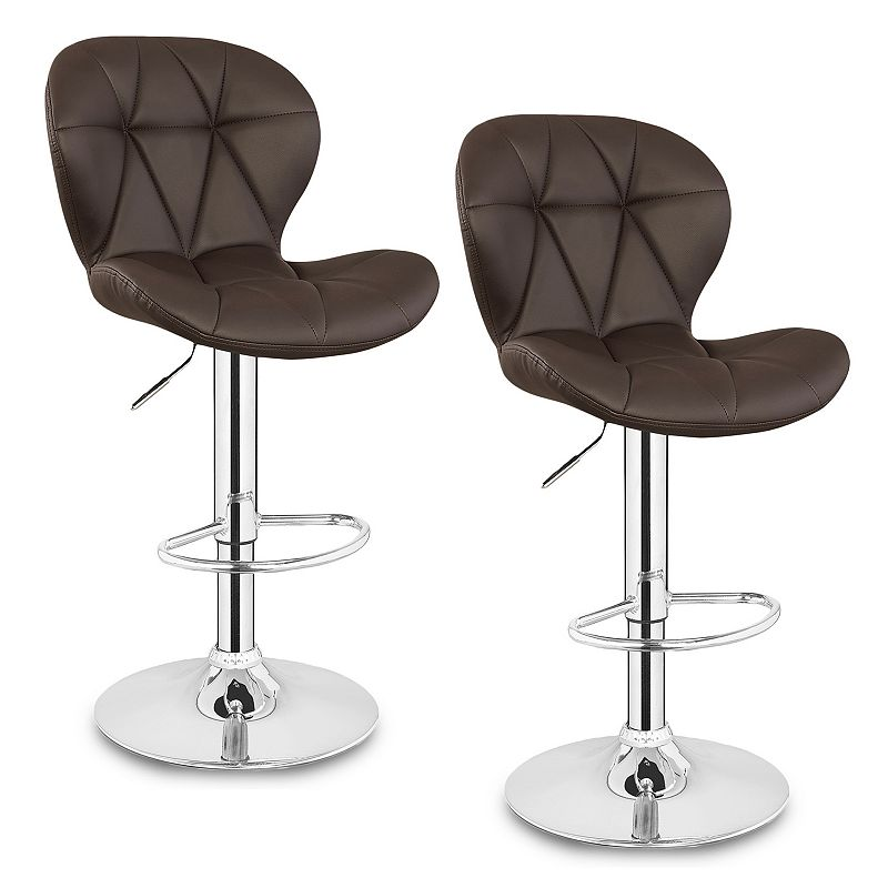 Leick Furniture Clamshell Faux Leather Swivel Stool 2-piece Set