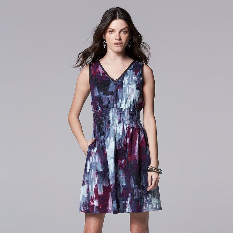 Petite Simply Vera Vera Wang Print Smocked Fit & Flare Dress