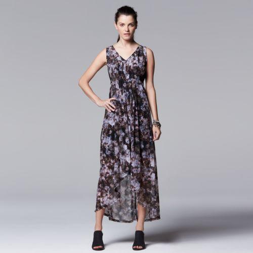 Petite Simply Vera Vera Wang Watercolor Maxi Dress