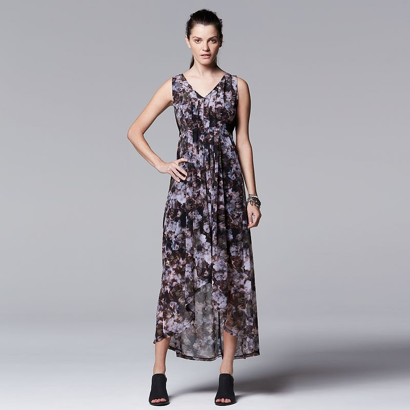 Petite Simply Vera Vera Wang Watercolor Maxi Dress