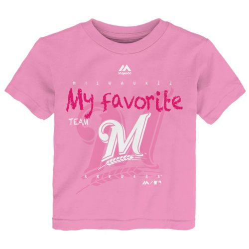 Toddler Majestic Milwaukee Brewers Pink My Favorite Tee