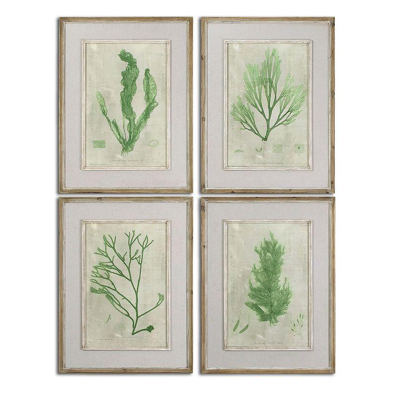 Emerald Seaweed Wall Art 4-piece Set