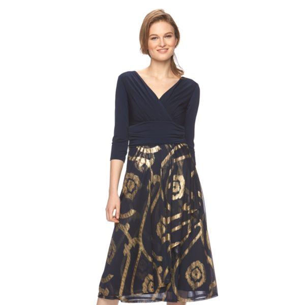 Women's Chaya Foil Surplice Midi Dress