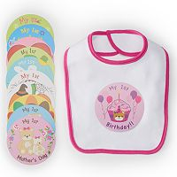 Baby Girl Lovespun Picture Perfect Holiday Bib & Stickers Set