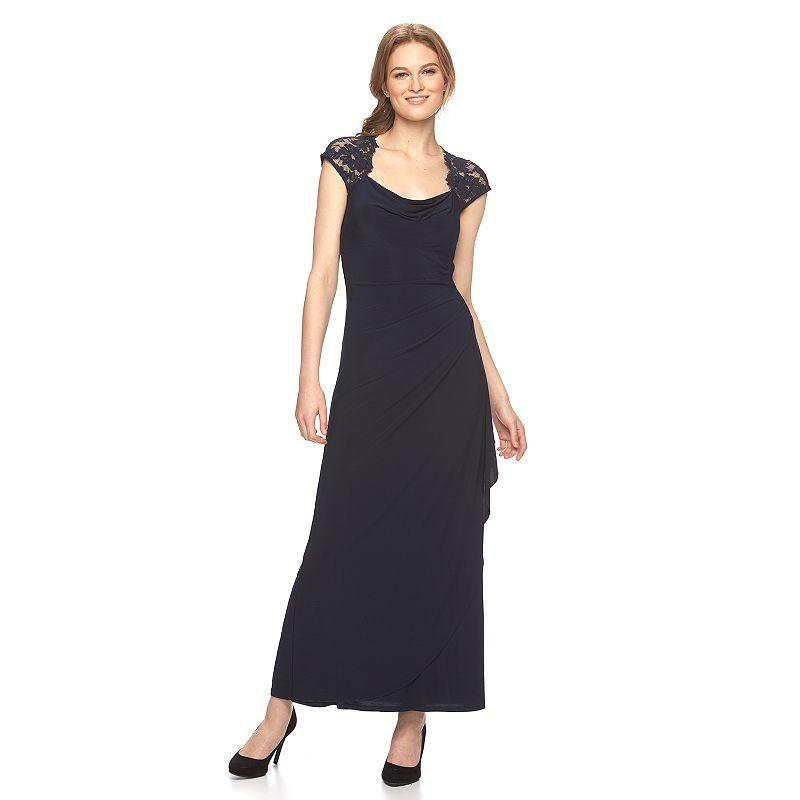 Women's MSK Drapeneck Lace Evening Gown