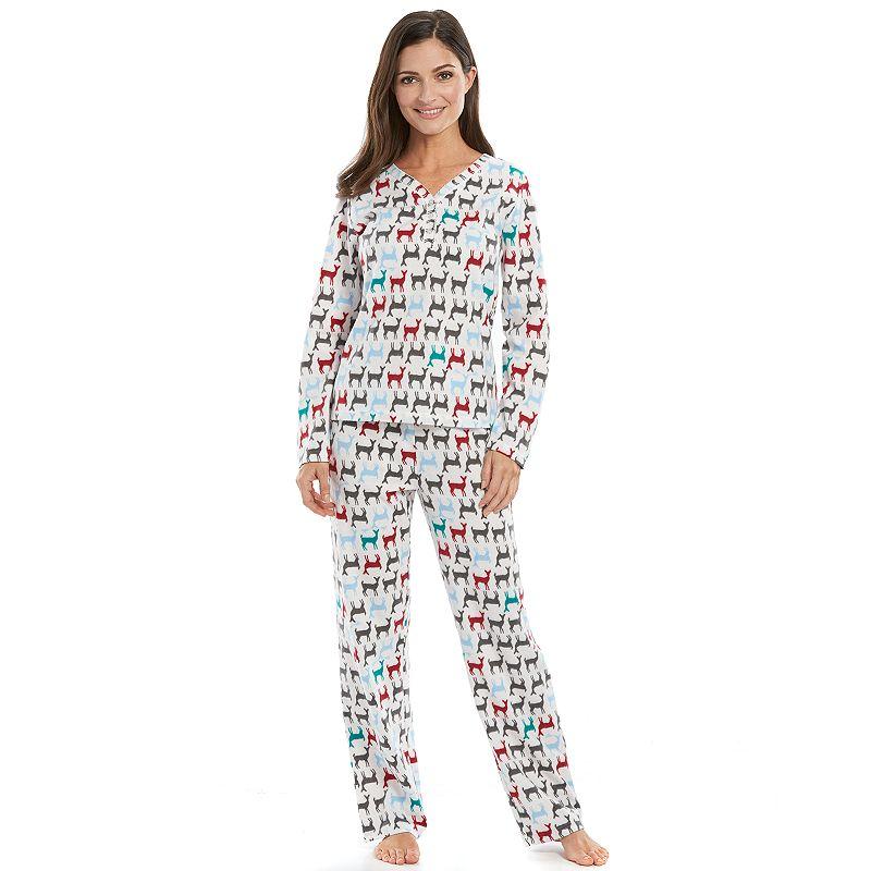 Women's Hanes Pajamas: Brushed Knit Pajama Top & Pants Set
