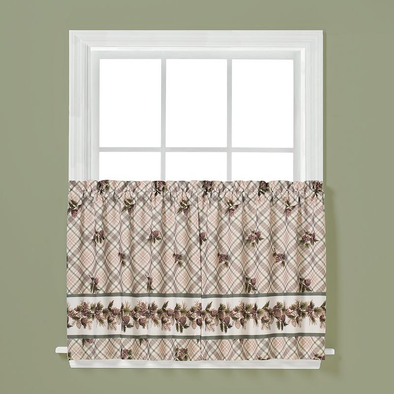 Saturday Knight, Ltd. 2-pack Pinecone Plaid Tier Curtains