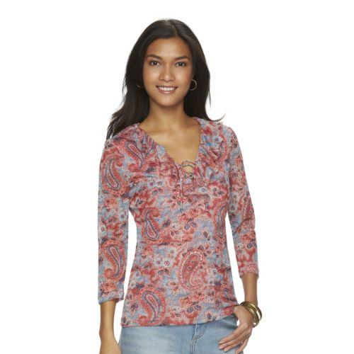 Women's Chaps Floral Mesh Top
