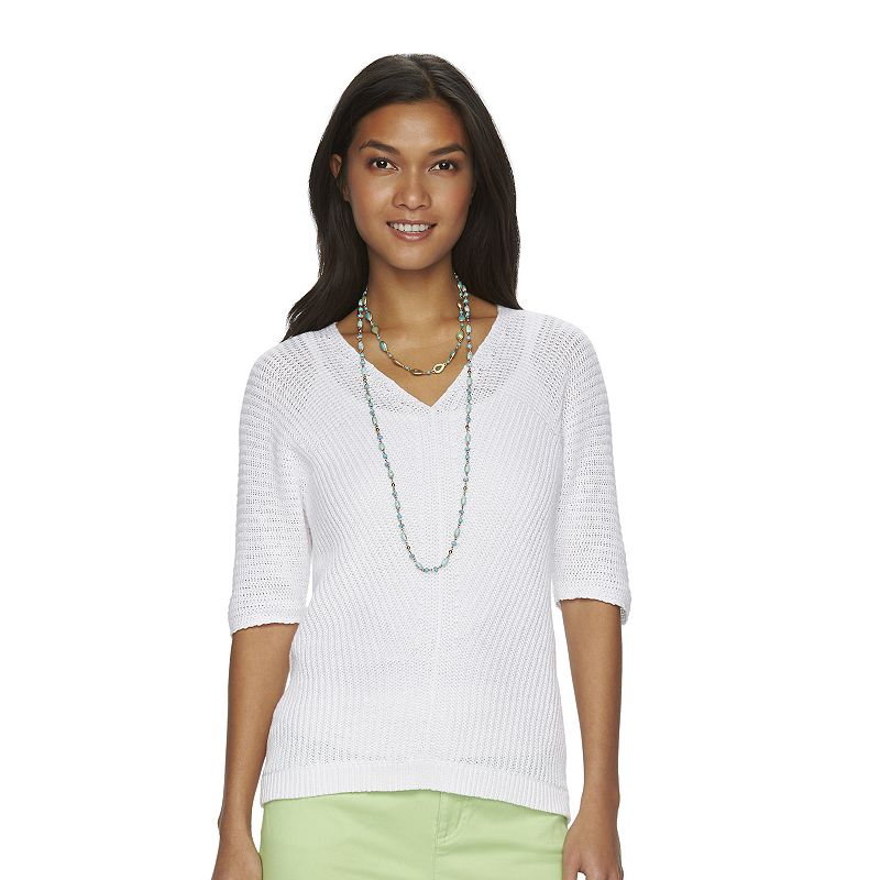 Women's Chaps Ribbed V-Neck Sweater