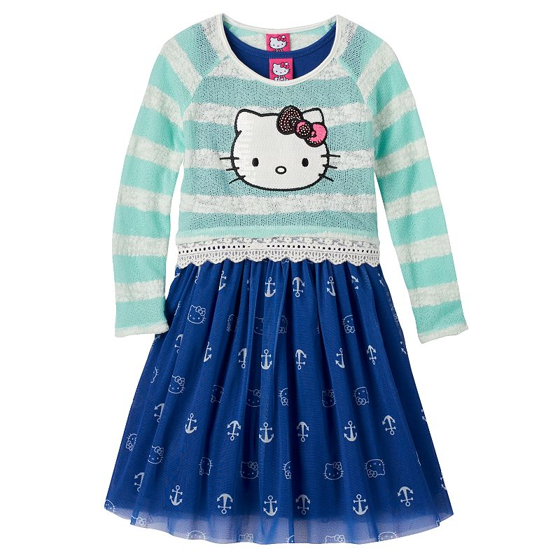 Girls 4-6x Hello Kitty® Striped Knit Sequin Top & Anchor Tank Dress