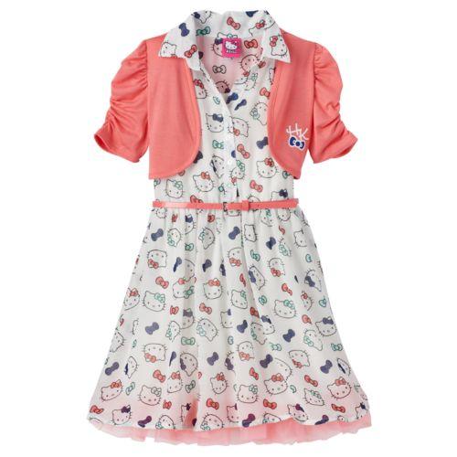 Girls 4-6x Hello Kitty® Chiffon Dress & Shrug Set with Belt