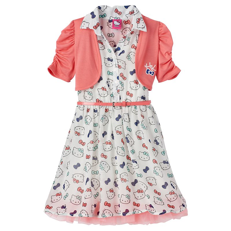 Girls 4-6x Hello Kitty® Chiffon Dress & Shrug Set with Belt