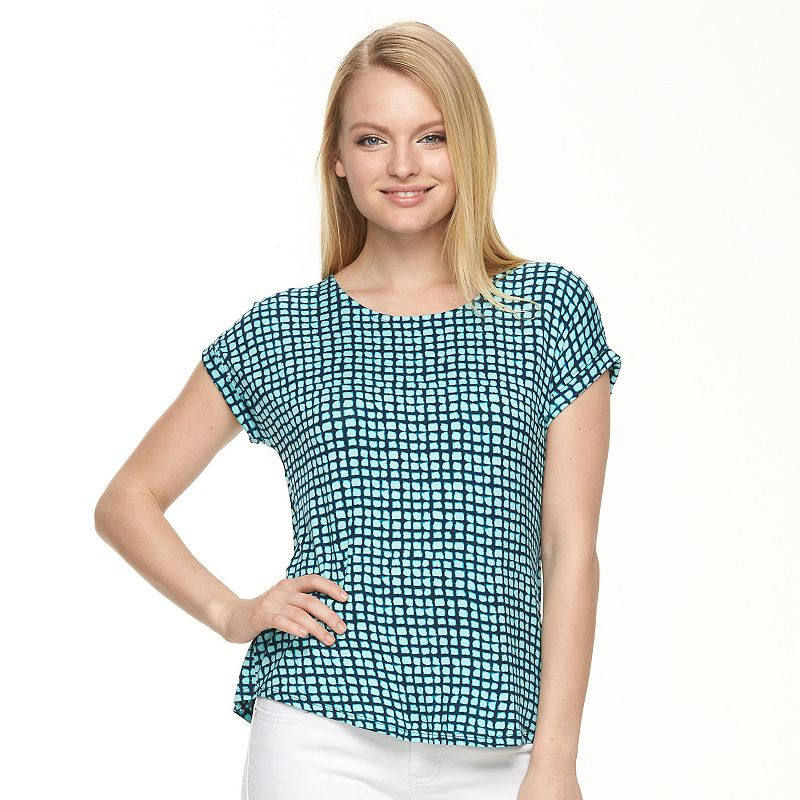 Petite Apt. 9® Print Split-Back Scoopneck Top