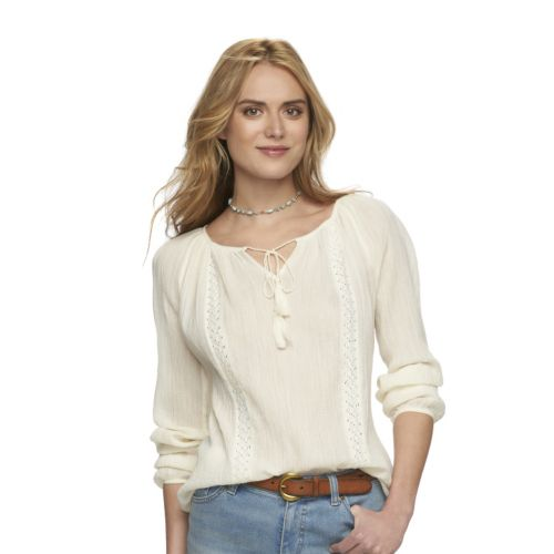 Women's Chaps Crinkle Peasant Top