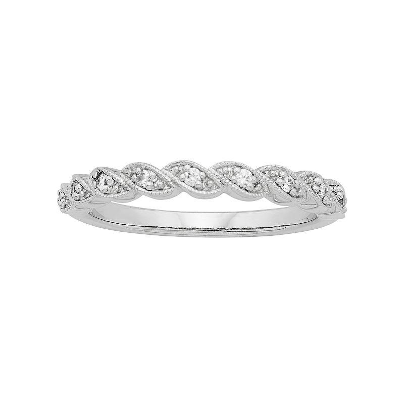Sterling Silver 1/10 Carat T.W. Diamond Twist Ring
