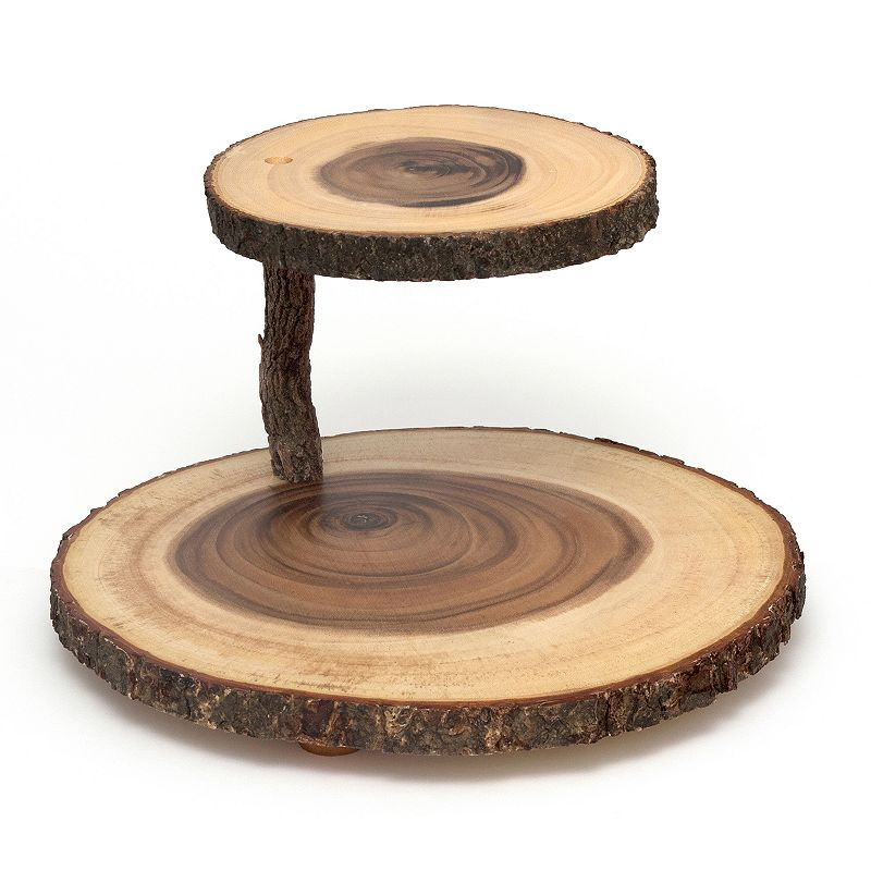 Lipper Two-Tier Acacia Wood Slab Serving Stand