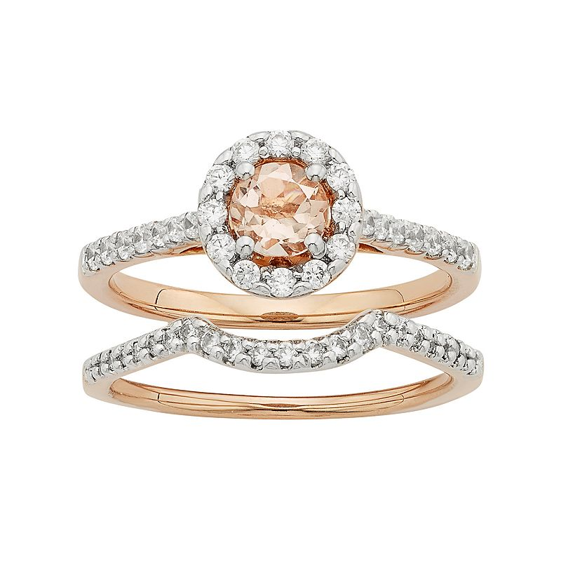 14k Rose Gold Morganite & 5/8 Carat T.W. Diamond Halo Engagement Ring Set