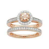 14k Rose Gold Morganite & 1/2 Carat T.W. Diamond Halo Engagement Ring Set