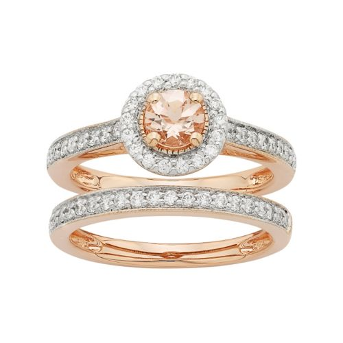 14k Rose Gold Morganite & 1/2 Carat T.W. Diamond Halo Engagement Ring Set