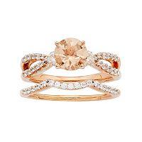 14k Rose Gold Morganite & 5/8 Carat T.W. Diamond Engagement Ring Set