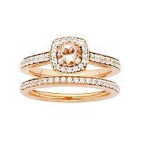 14k Rose Gold Morganite & 5/8 Carat T.W. Diamond Halo Engagement Ring Set