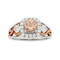 14k White Gold Morganite & 3/4 Carat T.W. Diamond Halo Engagement Ring