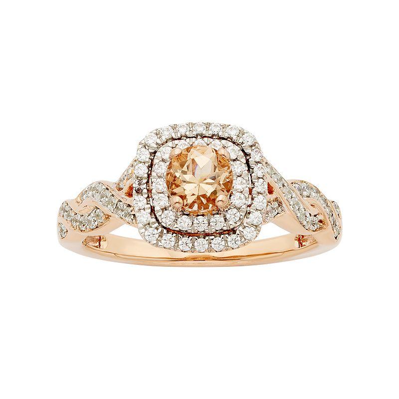 14k Rose Gold Morganite & 3/8 Carat T.W. Diamond Halo Engagement Ring