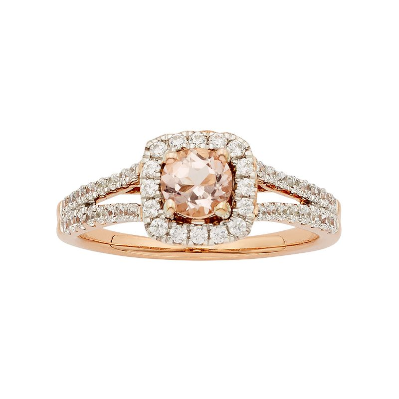 14k Rose Gold Morganite & 1/2 Carat T.W. Diamond Halo Engagement Ring