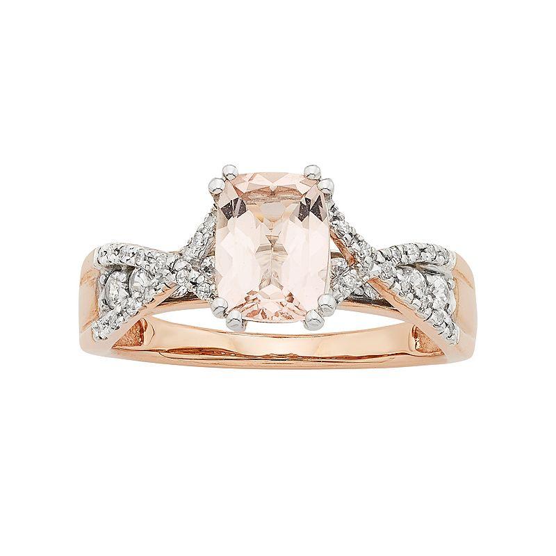 14k Rose Gold Morganite & 1/3 Carat T.W. Diamond Engagement Ring
