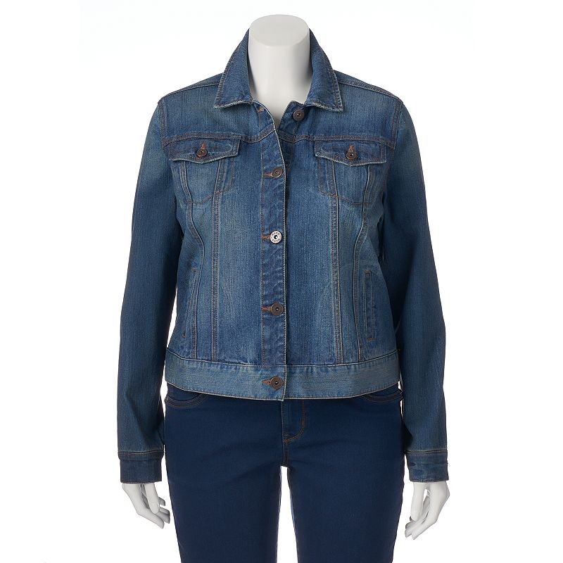 Juniors' Plus Size Mudd® Dark Wash Denim Jean Jacket