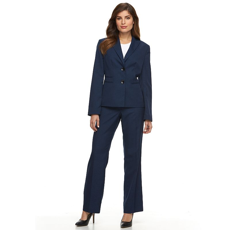 Women's Le Suit Solid Suit Jacket & Pants Set