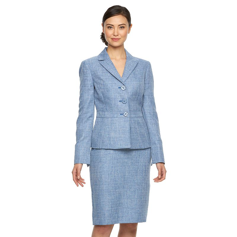 Women's Le Suit Textured Jacket & Skirt Set