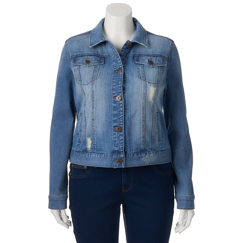 Juniors' Plus Size Mudd® Light Wash Denim Jean Jacket