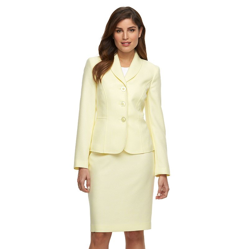 Women's Le Suit Tweed Suit Jacket and Skirt Set