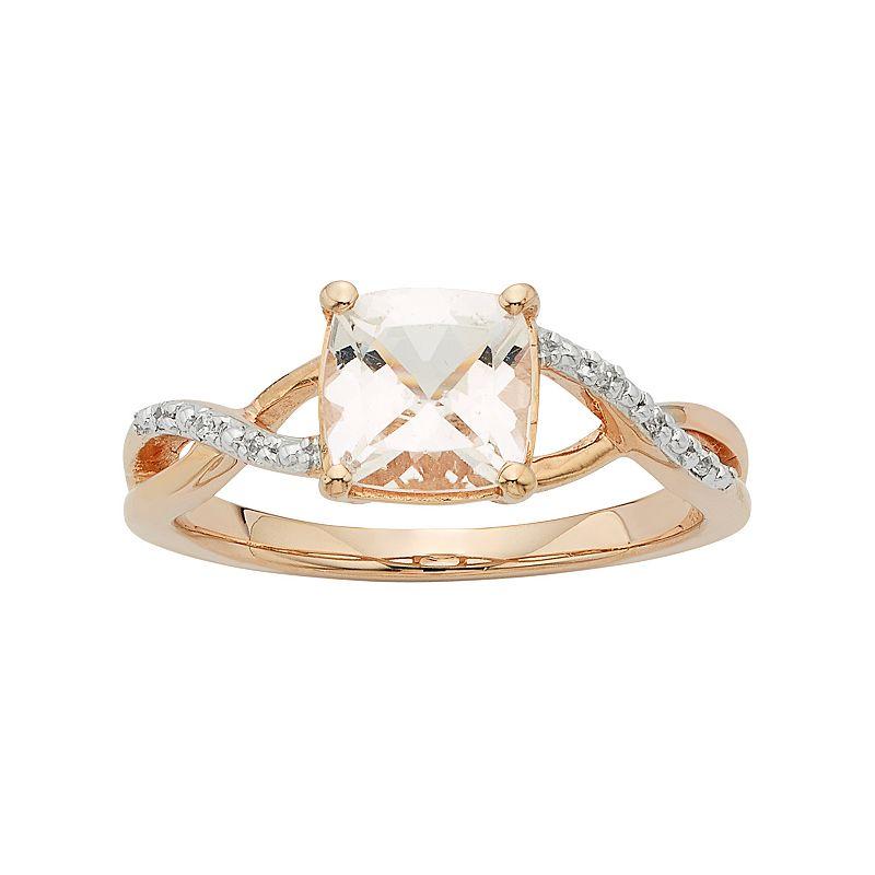14k Rose Gold Morganite & Diamond Accent Engagement Ring