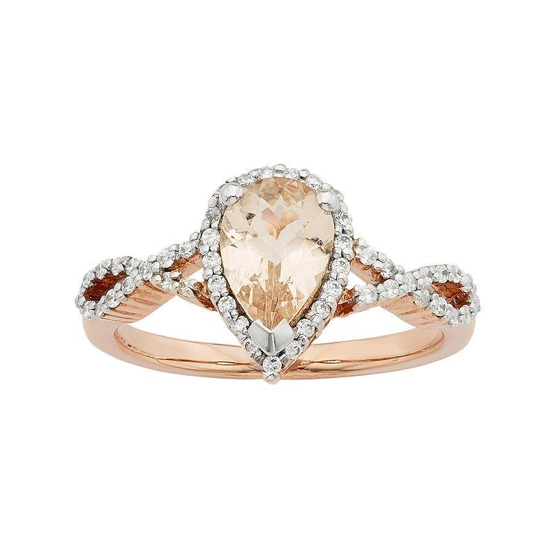 14k Rose Gold Morganite & 1/4 Carat T.W. Diamond Halo Engagement Ring