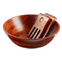 Lipper 3-pc. Cherry Acacia Wood Salad Bowl & Server Set