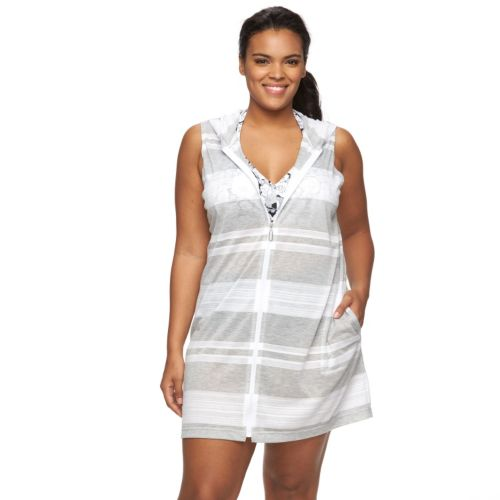 Plus Size Apt. 9® Hooded Striped Cover-Up