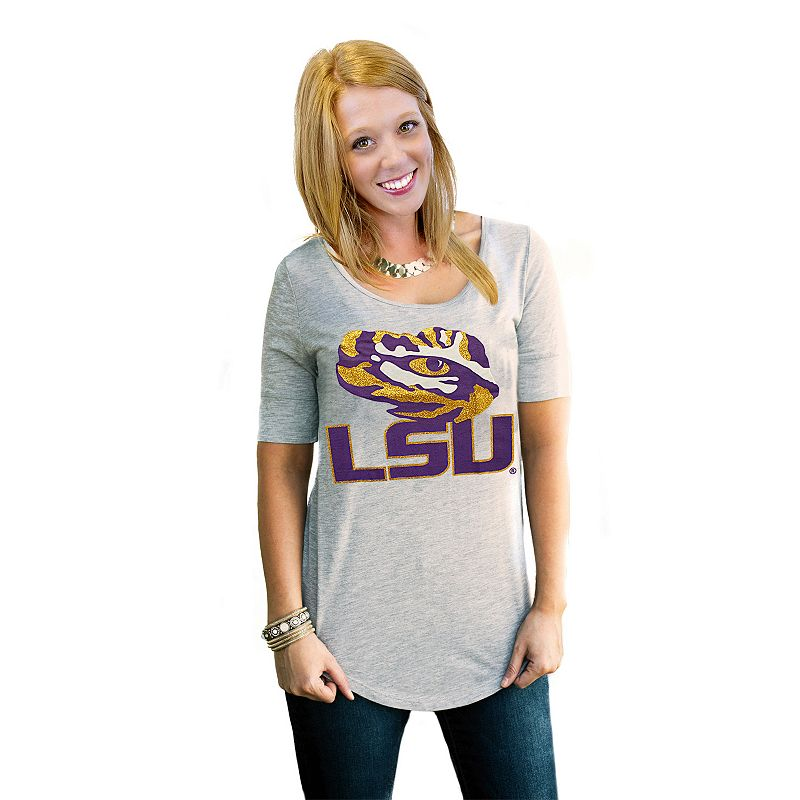 Women's Gameday Couture LSU Tigers Gray Slouchy Tee